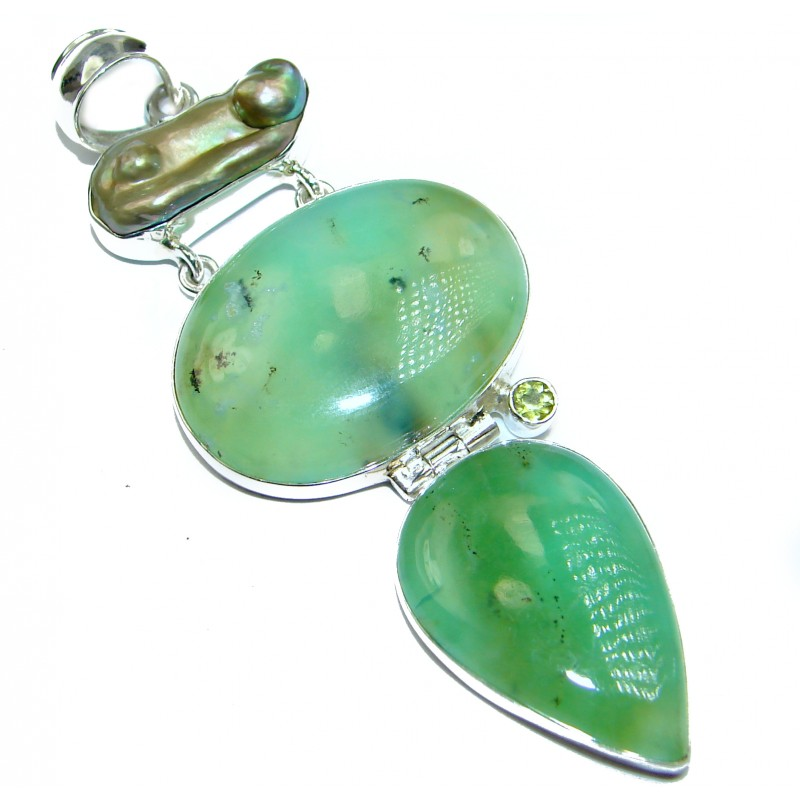 Exquisite Green Chrysophrase .925 Sterling Silver handmade Pendant