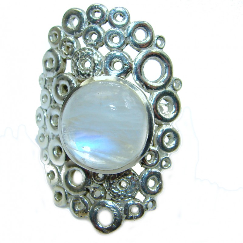 Fire Moonstone oxidized .925 Sterling Silver handcrafted ring size 7 adjustable
