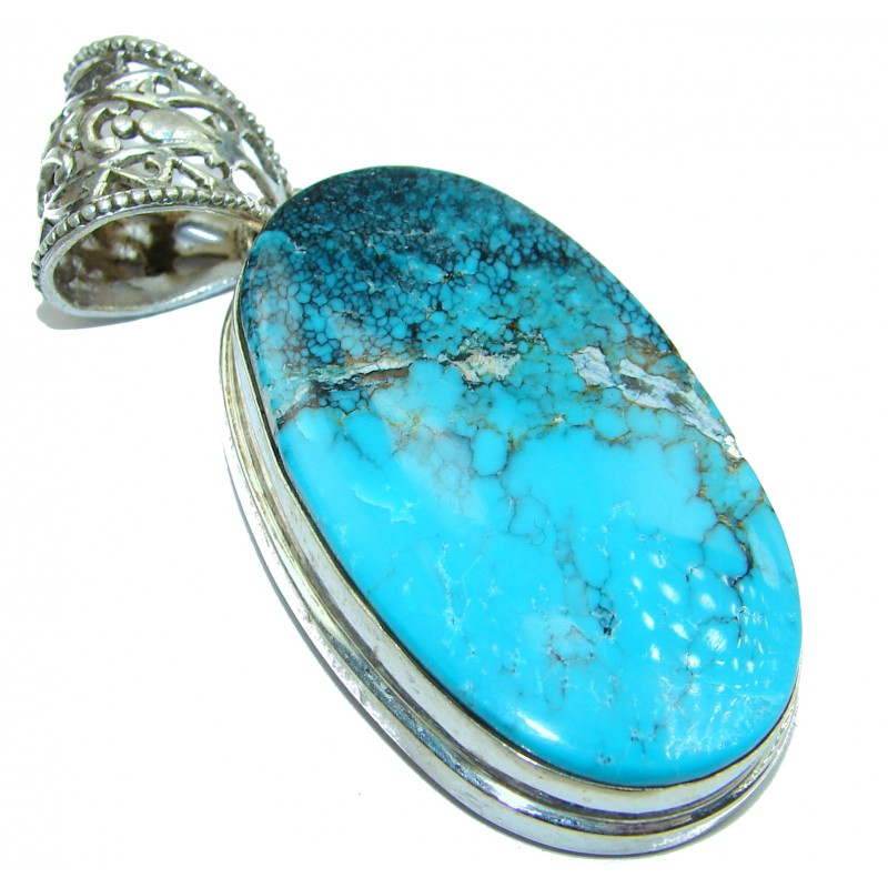 Exquisite Black Spider Web Turquoise .925 Sterling Silver handmade Pendant