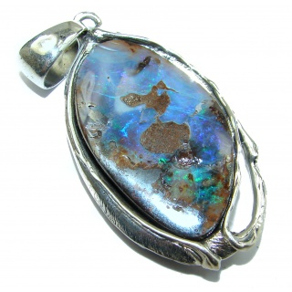 Giant Rustic Design Authentic Australian Boulder Opal .925 Sterling Silver handmade Pendant