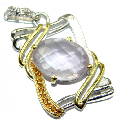 Timeless Beauty Rose Quartz .925 Sterling Silver handcrafted Pendant