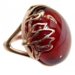 Huge Genuine Garnet Rose Gold over .925 Sterling Silver handmade Cocktail Ring s. 8