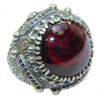 Genuine 28 ct Garnet .925 Sterling Silver handmade Cocktail Ring s. 7
