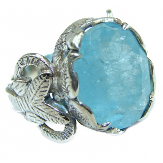 Antique Design Blue Aquamarine .925 Sterling Silver handmade ring s. 6