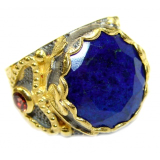 Natural Lapis Lazuli 14K Gold over .925 Sterling Silver handcrafted ring size 6