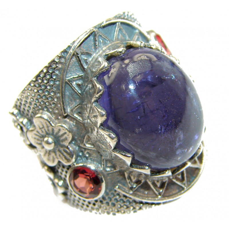 Chunky Authentic Australian Tanzanite .925 Sterling Silver handmade Ring s. 7