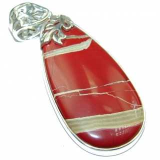 Incredible quality Red Jasper .925 Sterling Silver handmade Pendant