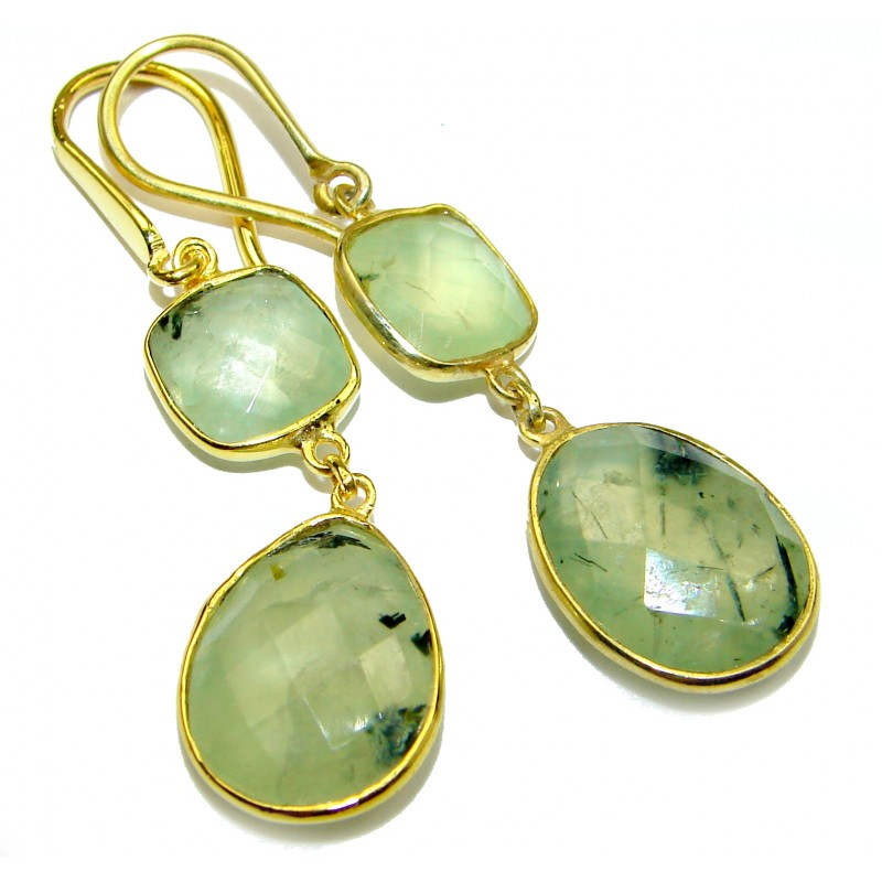 Authentic Moss Prehnite Gold over .925 Sterling Silver handmade earrings