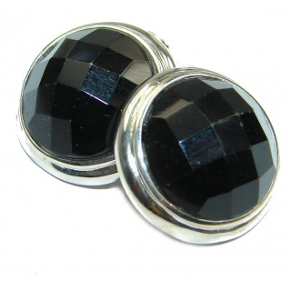Simple Black Onyx .925 Sterling Silver earrings