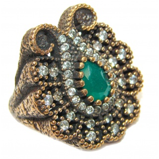 Victorian Style created Emerald & White Topaz Copper over Sterling Silver ring; s. 6 1/4