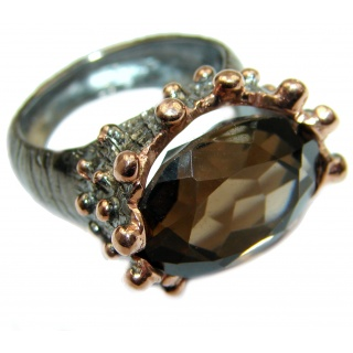 Bold Champagne Smoky Topaz .925 Sterling Silver Ring size 7 3/4