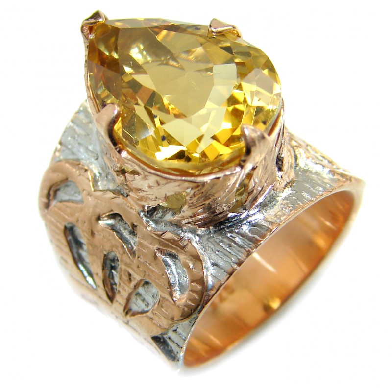 Vintage Style 25ct Natural Citrine two tones .925 Sterling Silver handcrafted Ring s. 6