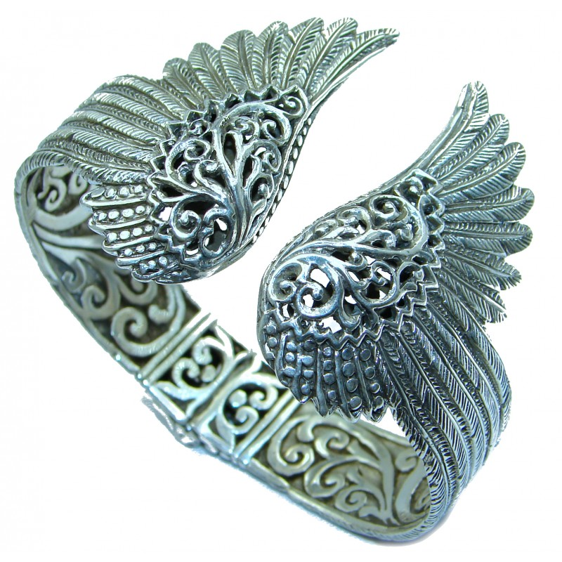 Angel's Wings 53.5 grams .925 Sterling Silver handcrafted Bracelet / Cuff