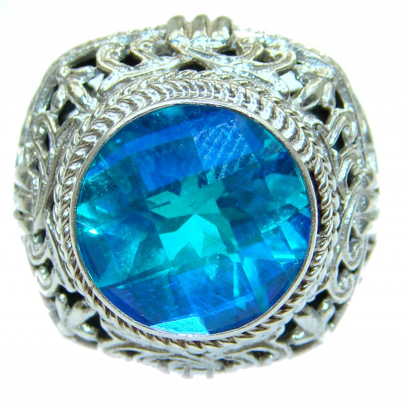 Bali Design Blue Aquamarine Topaz .925 Sterling Silver handmade ring s. 7 1/4