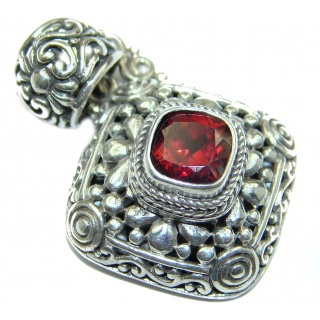Vintage Design Red Magic Topaz .925 Sterling Silver handcrafted Pendant