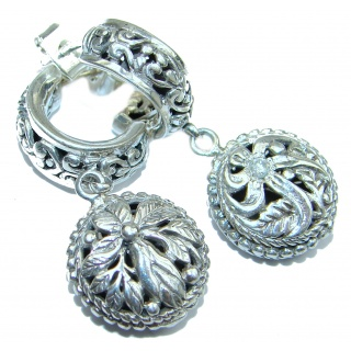 Bali Design White Topaz .925 Sterling Silver handcrafted Earrings