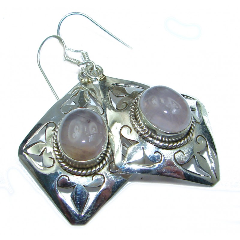 Huge Rose Quartz .925 Sterling Silver earrings