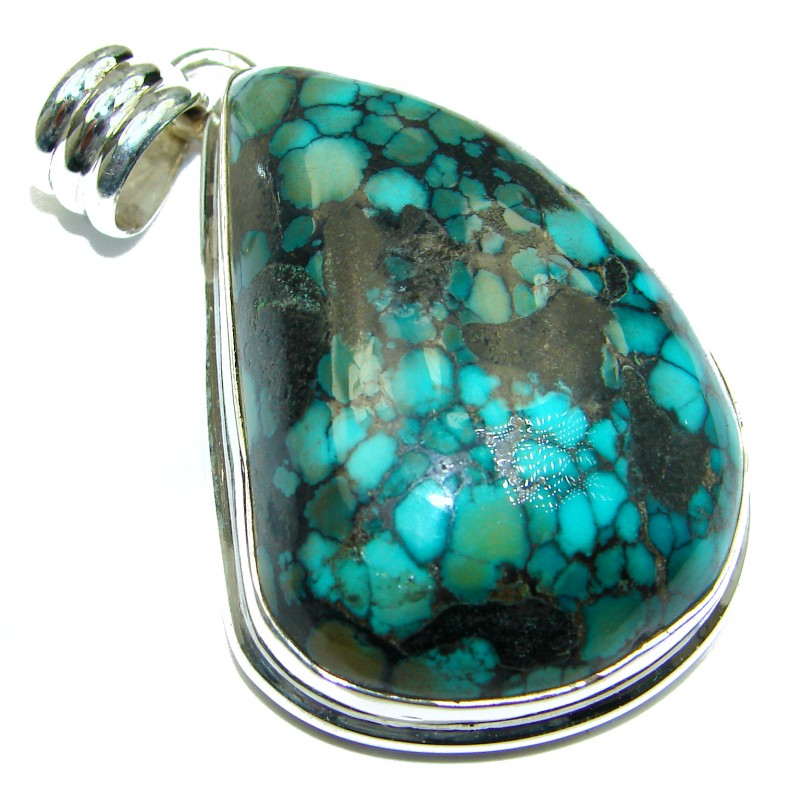 Huge Exquisite Black Spider's web Turquoise .925 Sterling Silver handmade Pendant