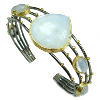 Real Treasure Bali Made Fire Moonstone .925 Sterling Silver Bracelet / Cuff