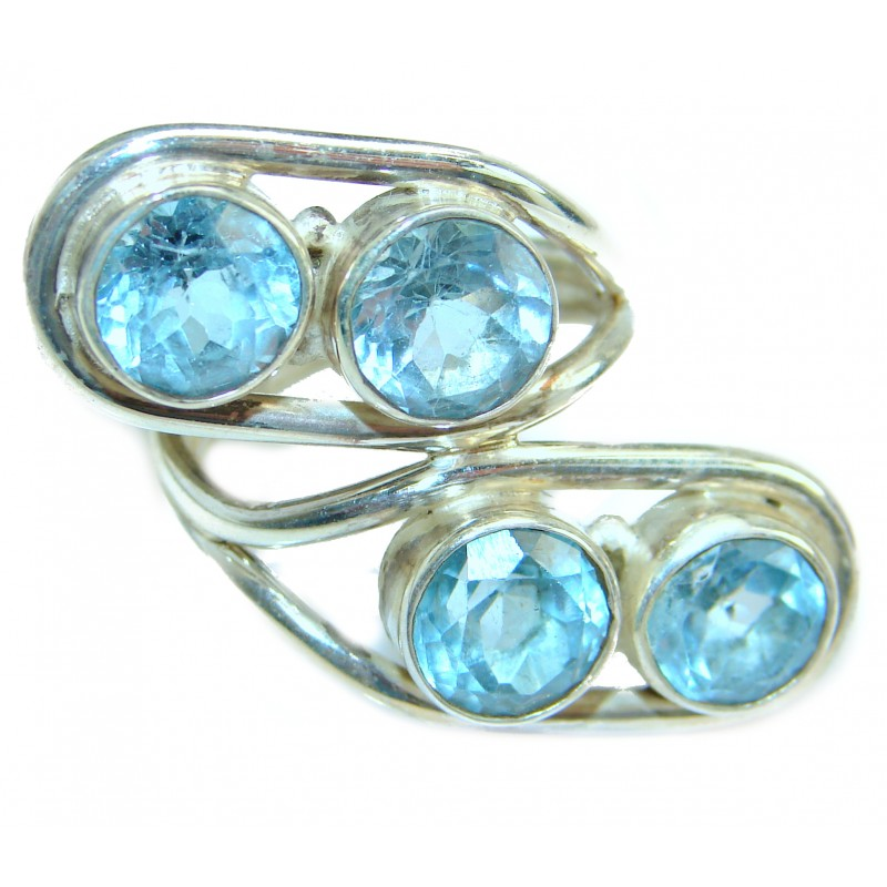 Energazing Swiss Blue Topaz .925 Sterling Silver handmade Poison Ring size 6