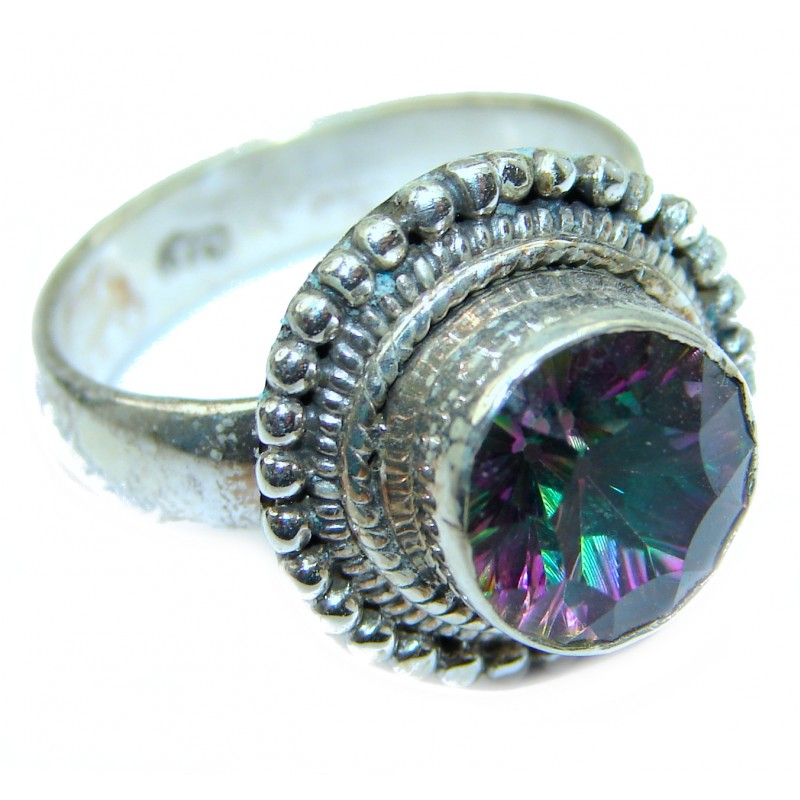 Huge Exotic Magic Topaz .925 Sterling Silver handcrafted Ring s. 9