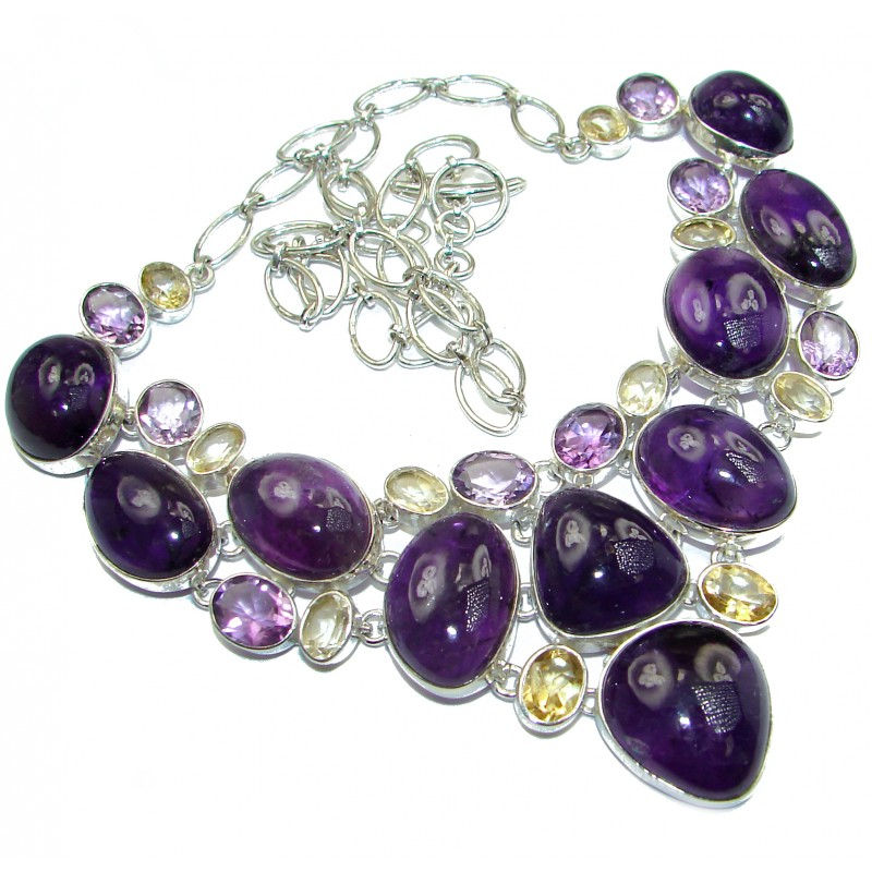 You and Me HUGE Natural Amethyst Citrine .925 Sterling Silver handcrafted necklace
