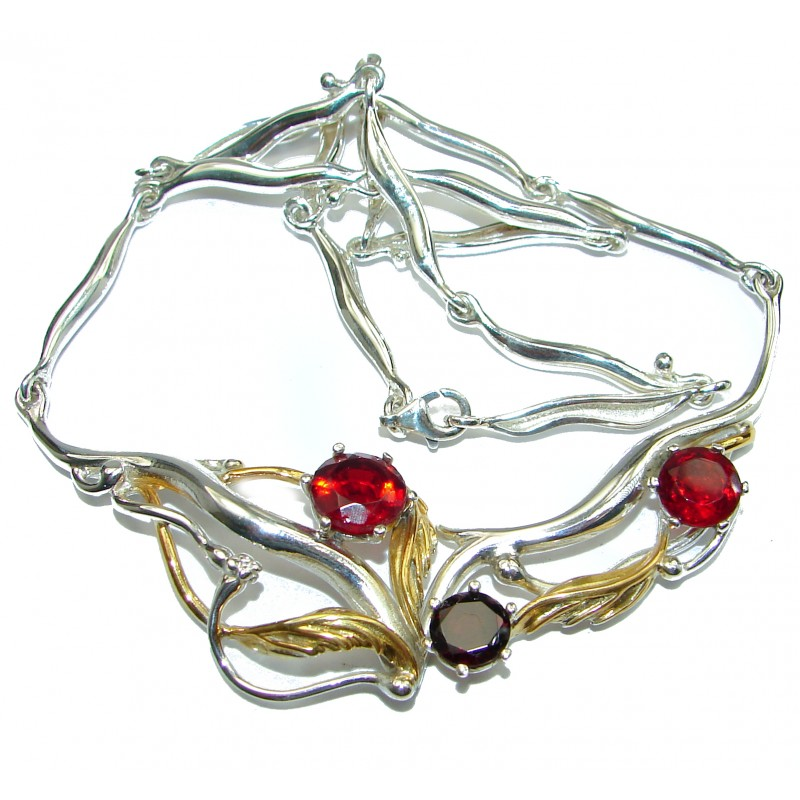 Sublime Design Garnet 14K Gold over .925 Sterling Silver handmade Necklace