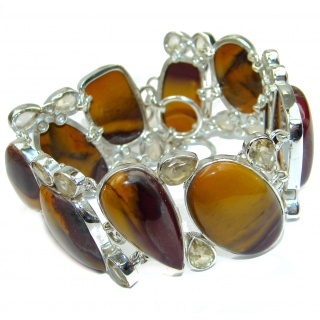 Chunky Natural Authentic Australian Mookaite .925 Sterling Silver handmade Bracelet