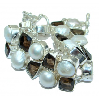 Huge Amazing Mother Of Pearl .925 Sterling Silver handmade Bracelet