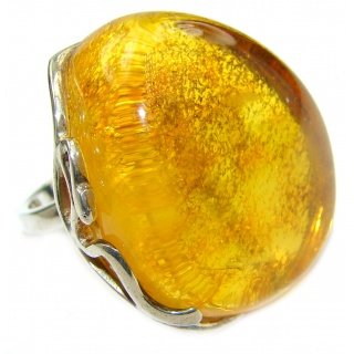 Huge authentic Baltic Amber .925 Sterling Silver ring; s. 7 adjustable