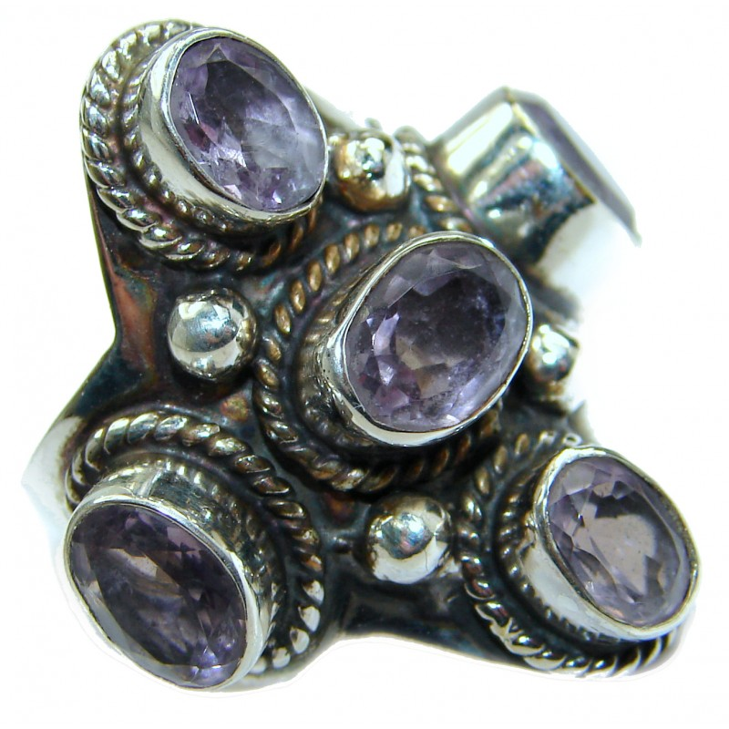 Spectacular Amethyst .925 Sterling Silver handcrafted Ring size 8
