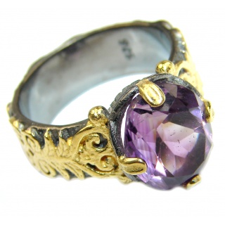 Vintage Style Amethyst .925 Sterling Silver handmade Cocktail Ring s. 8