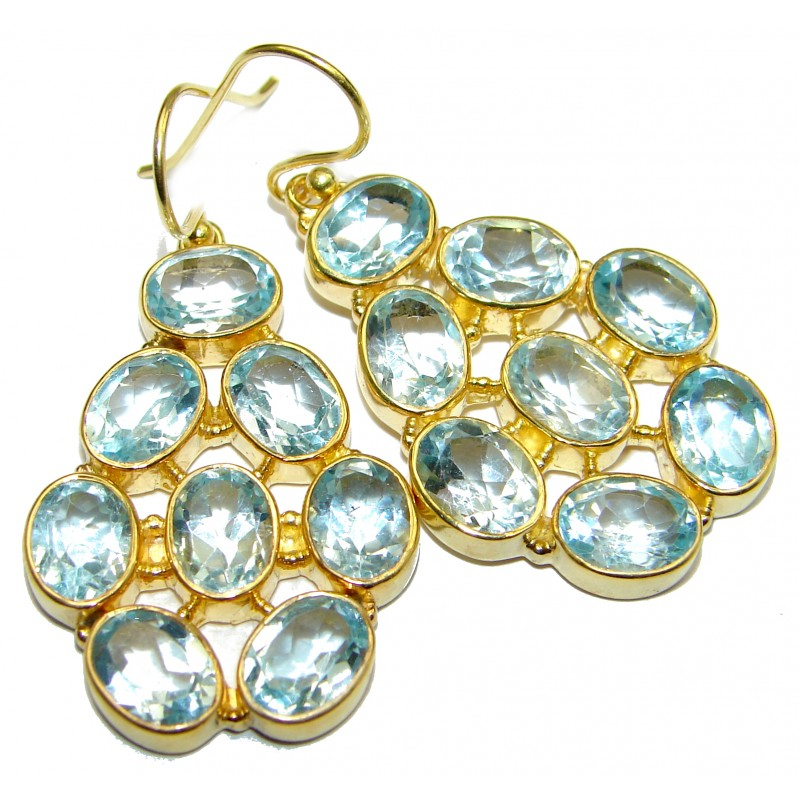 Summer Sky Swiss Blue Topaz Gold over .925 Sterling Silver handcrafted earrings
