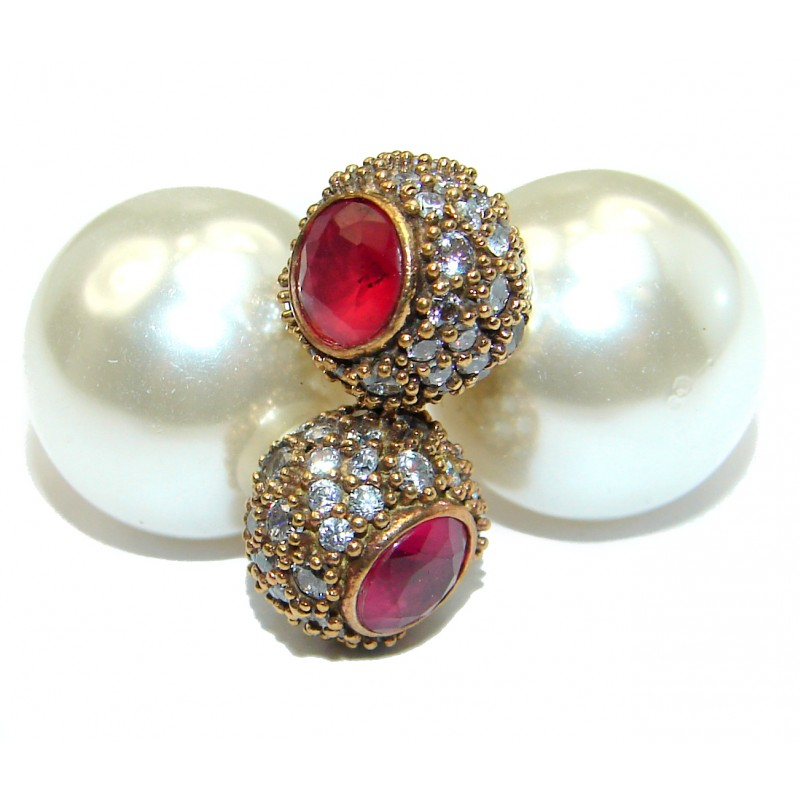 Victorian Style Fresh Water Pearl Ruby Sterling Silver earrings