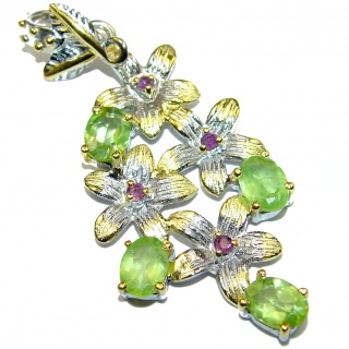 Beautiful authentic Peridot 14K Gold over .925 Sterling Silver handmade Pendant