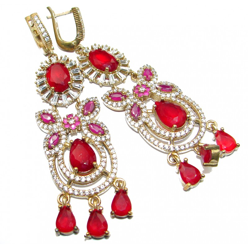 Classy Victorian Style created Ruby .925 Sterling Silver handmade earrings