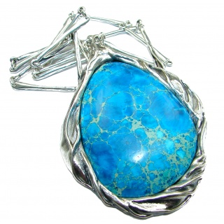 Julietta Blue Sea Sediment Jasper oxidized .925 Sterling Silver handmade necklace