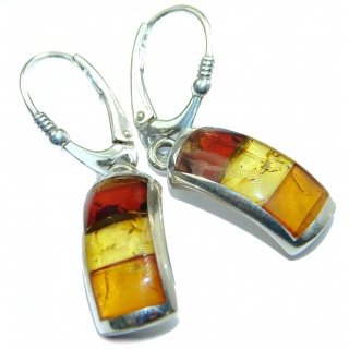 Gorgeous Polish Baltic Mosaic Amber Handcrafted .925 Sterling Silver entirely handcrafted earrings
