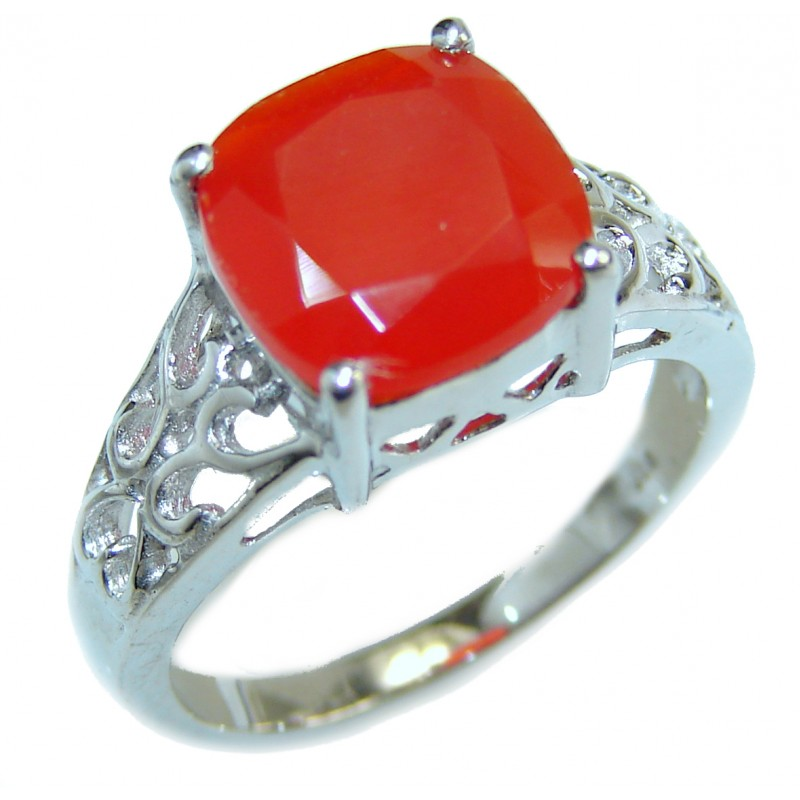 Genuine Carnelian .925 Sterling Silver handmade Ring Size 8