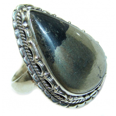 Huge Copper stone .925 Sterling Silver ring; s. 7