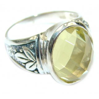 Vintage Style Natural Citrine .925 Sterling Silver handcrafted Ring s. 9 1/2