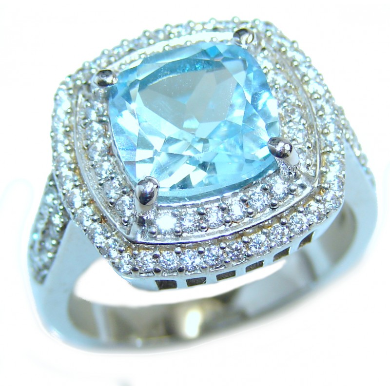Energazing Swiss Blue Topaz .925 Sterling Silver handmade Poison Ring size 8