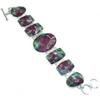 Beauty of Nature Ruby in Zoisite handmade .925 Sterling Silver handcrafted Bracelet