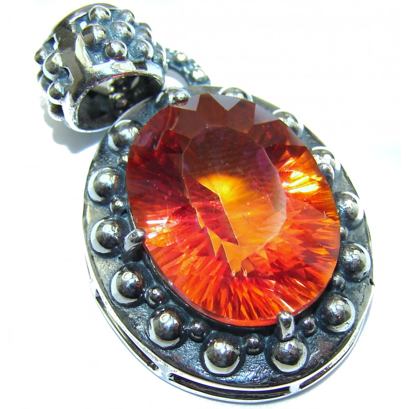 Spectacular Red Magic Topaz .925 Sterling Silver handcrafted Pendant
