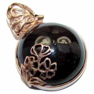 Beautiful genuine 35ct Garnet 18ct Rose Gold over .925 Sterling Silver handcrafted Pendant