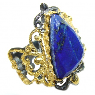 Natural Lapis Lazuli 14K Gold over .925 Sterling Silver handcrafted ring size 5 1/4