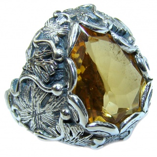 Vintage Style 25ct Natural Citrine two tones .925 Sterling Silver handcrafted Ring s. 7 1/4