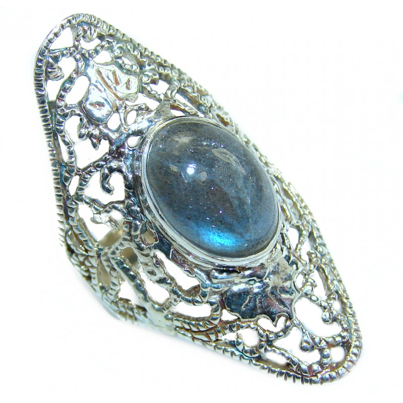 Perfect Labradorite .925 Sterling Silver handmade Ring s. 9