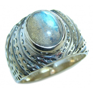 Perfect faceted Labradorite .925 Sterling Silver handmade Ring s. 9