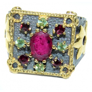 Large genuine Ruby 14K Gold over .925 Sterling Silver Statement ring; s. 8 1/4
